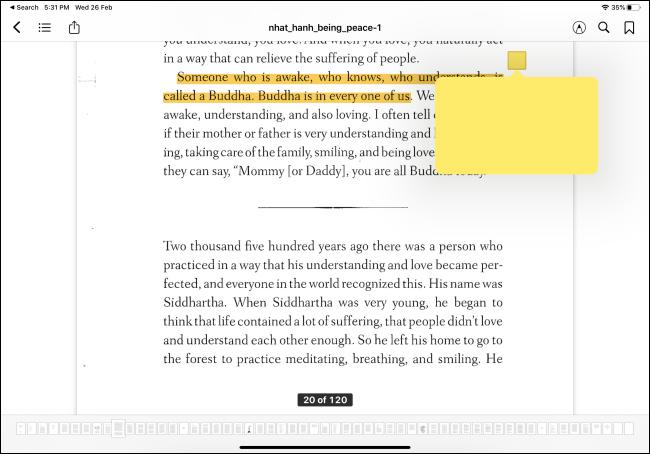 يعرض تطبيق Apple Books ميزة التمييز والملاحظات