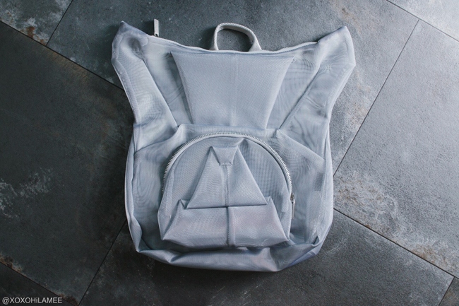 Japanese Fashion Blogger,MizuhoK,NEW IN-silver mesh bulldog backpack