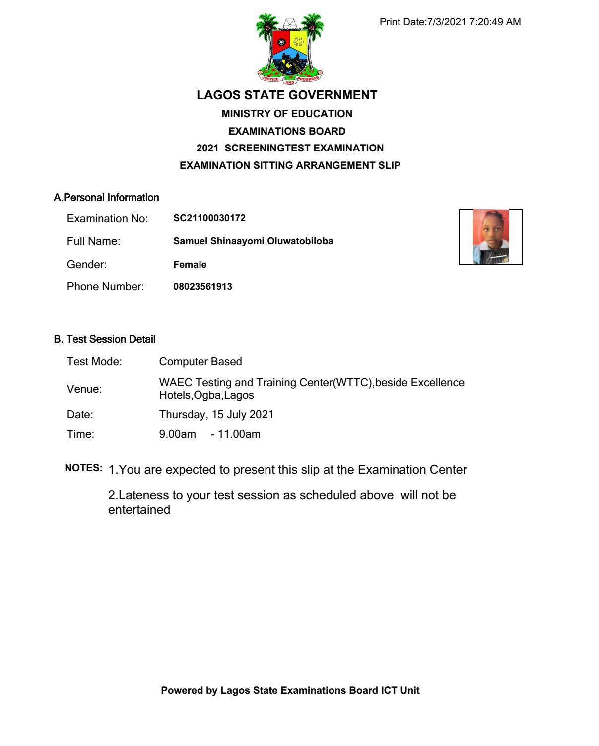 Lagos Model College Exam Sitting Arrangement Slip 2021/2022