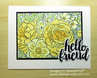 Hello Card made with Stampin'UP!'s Breathtaking Bouquet background stamp and colored with Stampin'Blends (Alcohol Markers)