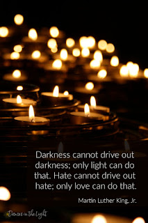 Pinterest graphic for Martin Luther King Jr quote: Darkness cannot drive out darkness; only light can do that. Hate cannot drive out hate; only love can do that.