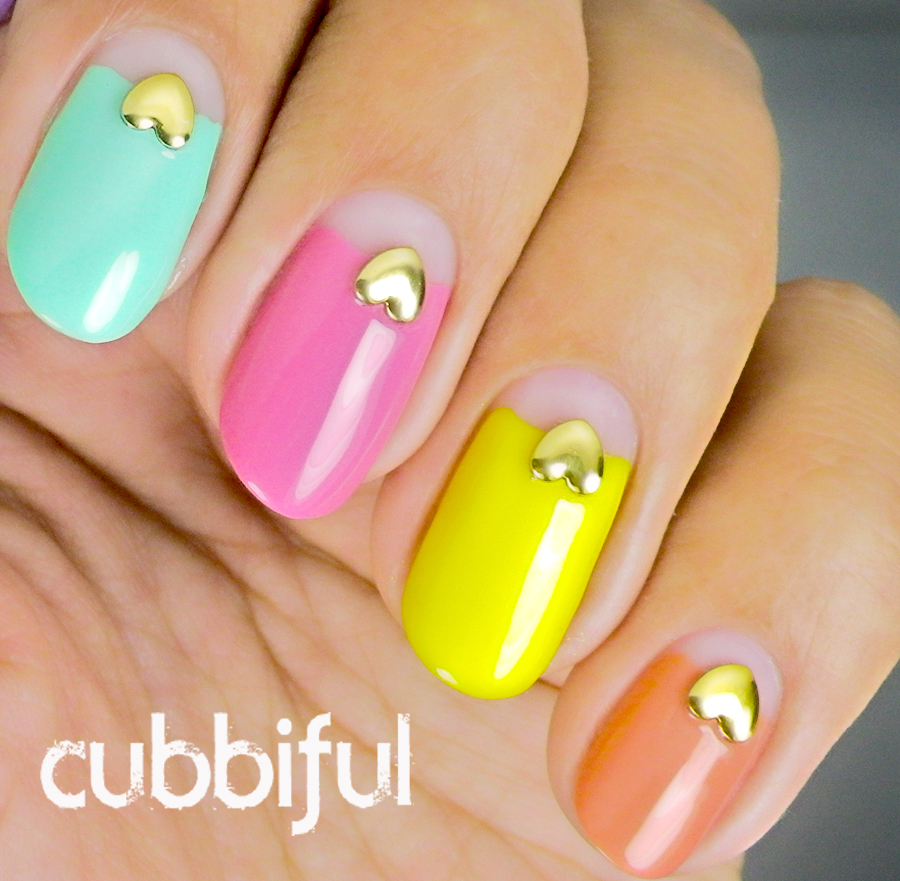 negative space half moon skittle nails