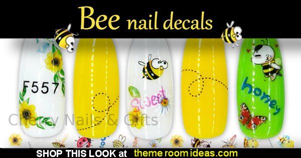 bee Nail art sticker decal Bee Waterslide Nail Art Decals  bee nail designs