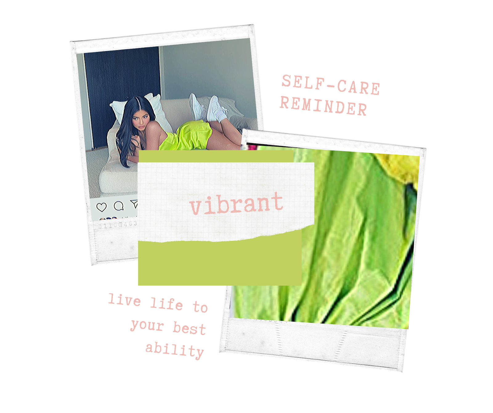 Instagram graphic of kylie jenner in a lime green/neon green dress and the word vibrant