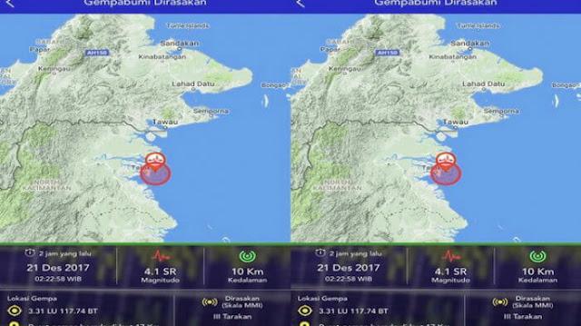Pusat Gempa Saat dilihat dari Peta