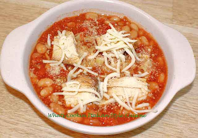 beans and pasta in a tomato sauce recipe with chicken