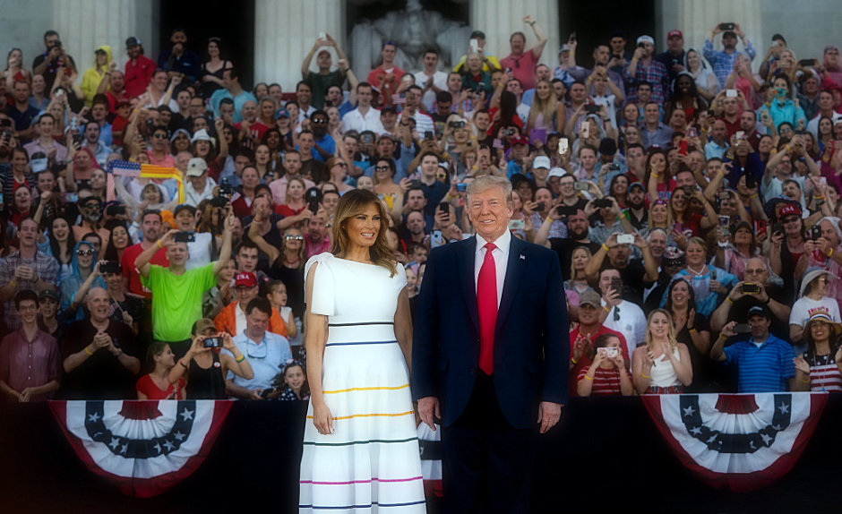 On the fourth of July, Melania Trump dresses in Independence.