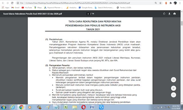 Rekrutmen Penulis Soal Asesmen Kompetensi Siswa Madrasah (AKSI) Madrasah Tahun 2021