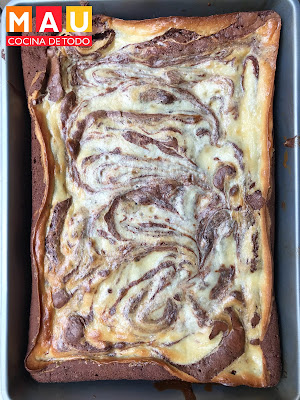mau cocina de todo brownies marmoleados de queso cheesecake receta facil