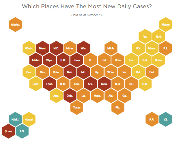 NPR: Heat Map - Which places have the most daily new cases?