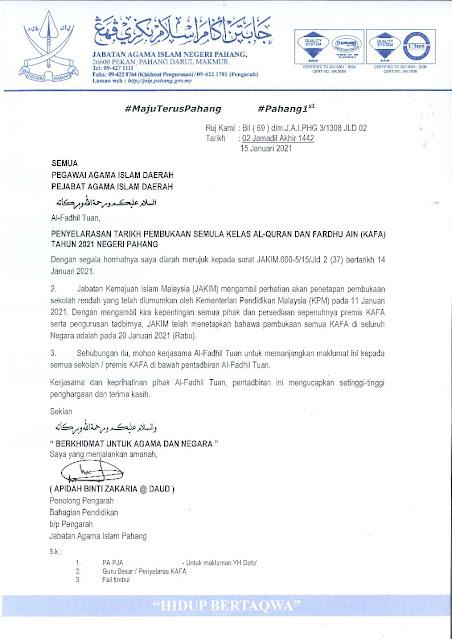 Penyelarasan Pembukaan Semula Kelas KAFA Negeri Pahang 2021