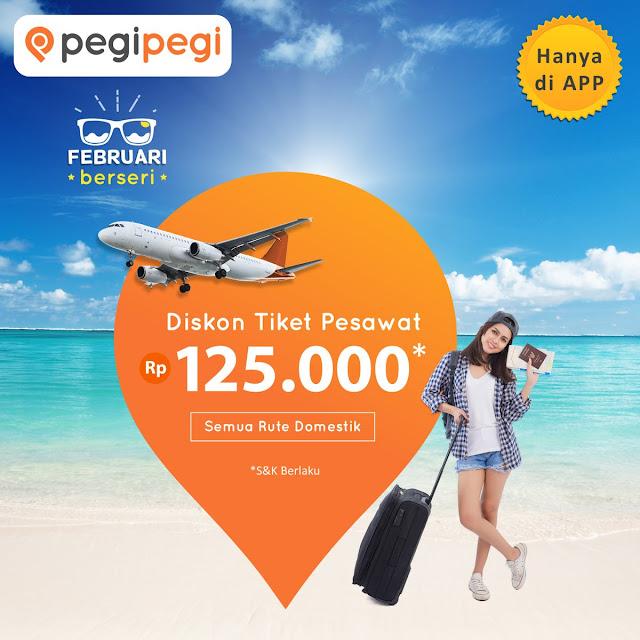 #PegiPegi - #Promo Diskon 125K Tiket Pesawat Rute Domestik (s.d 11 Feb 2019)
