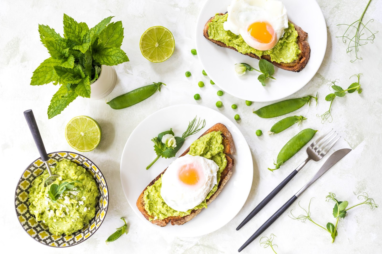 Avocado, Peas and Feta On Toast With Poached Eggs