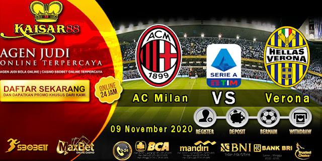 Prediksi Bola Terpercaya Liga Italia AC Milan vs Verona 09 November 2020