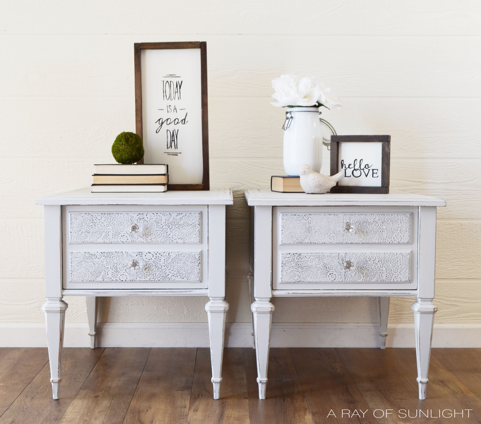 DIY Side Tables Makeover with light gray chalk paint and raised textured stenciling on the drawer fronts. I love this shabby chic distressed look! by A Ray of Sunlight