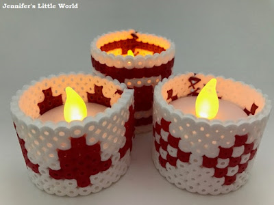 Scandi themed Hama bead Christmas battery candle wraps