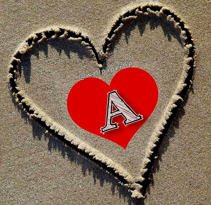 Write Alphabet pictures for Dp on Beach Sand Heart Shape for WhatsApp n Fb