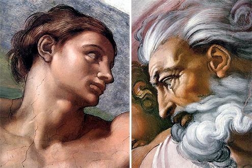 Detalle de los Frescos de la bóveda de la Capilla Sixtina pintada por Miguel Ángel (Rostros de Adán y Dios)