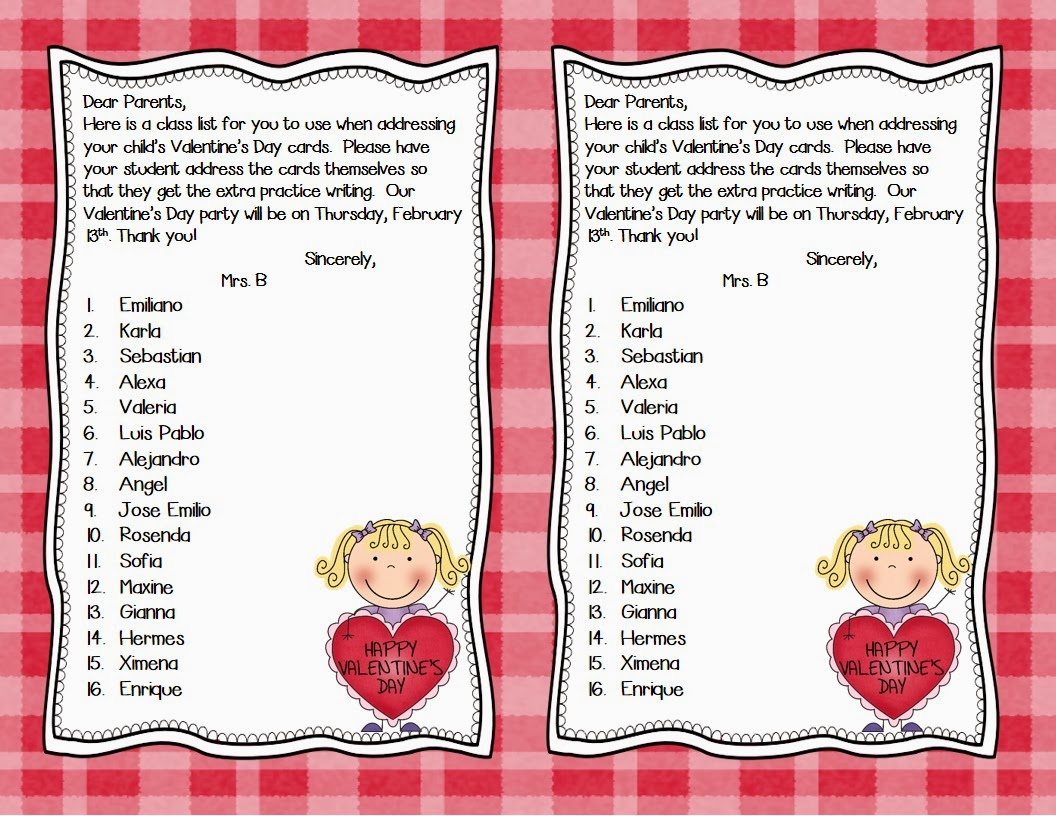 Mrs. B's Beehive - Valentine's Day List