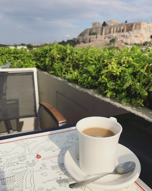 Athens Gate Hotel rooftop breakfast Acropolis view