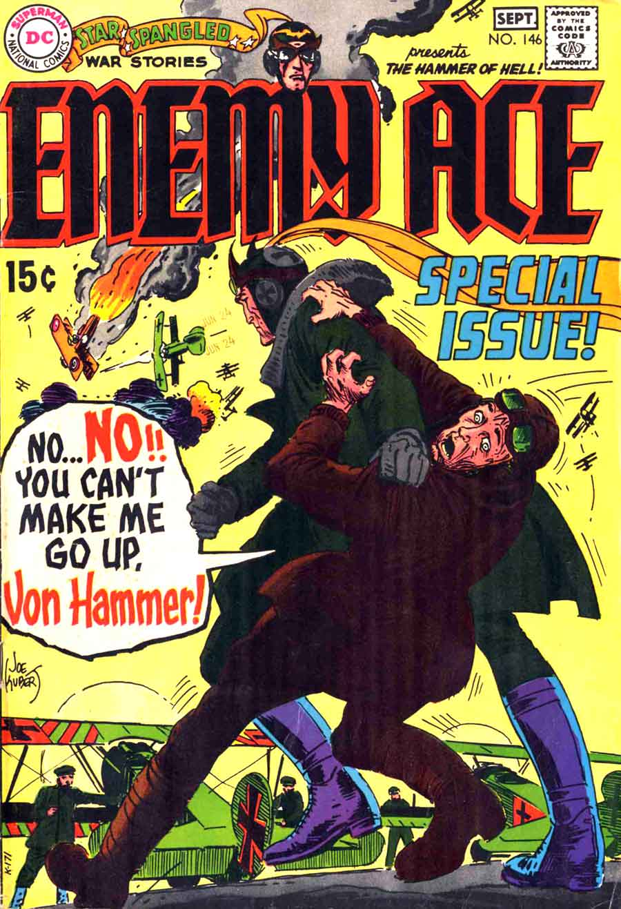 Star Spangled War v1 #146 enemy ace dc comic book cover art by Joe Kubert