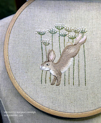 Jenny McWhinney's Queen Anne's Lace Travelling Work Station: Embroidered hare and flowers nearly complete