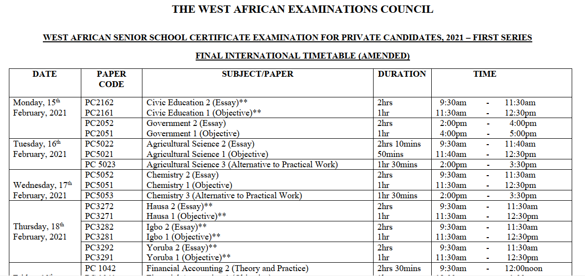 WAEC GCE Timetable | Jan/Feb. 1st Series [15th Feb - 2nd March 2021]