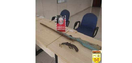 POLÍCIA MILITAR APREENDEU NA MANHÃ DE HOJE (10) DE JANEIRO, DUAS ARMAS DE FOGO NA CIDADE DE PRINCESA ISABEL, PB...