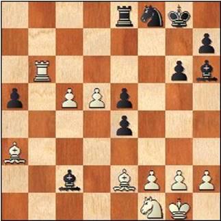 Partida de ajedrez Ribera-Medina, 1952, posición después de 34.Ag4