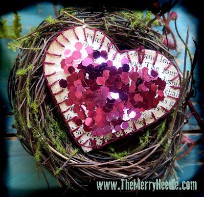 Glittered Valentine's Day paper hearts to make diy