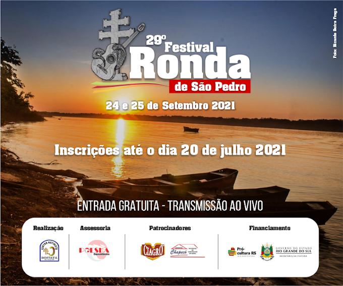 Inscrições para o 29º Festival Ronda de São Pedro poderão ser feitas até o dia 20 de julho