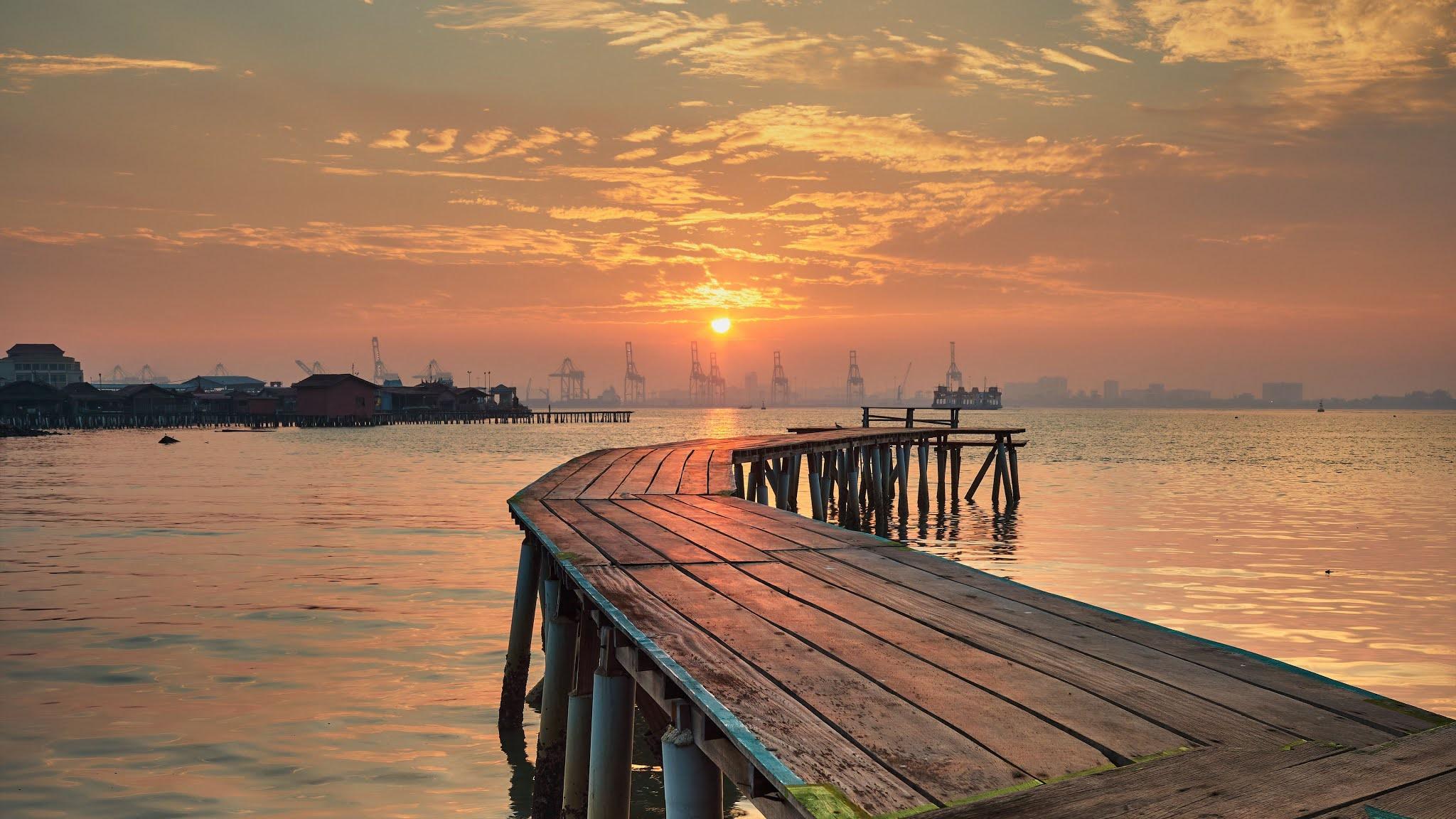 Sunset Pier Nature Iphone 11 Wallpaper