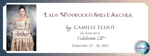 "Banner reads Lady Wynwood's Spies: Archer"" on tour with Celebrate Lit. February 15-28, 2021"""