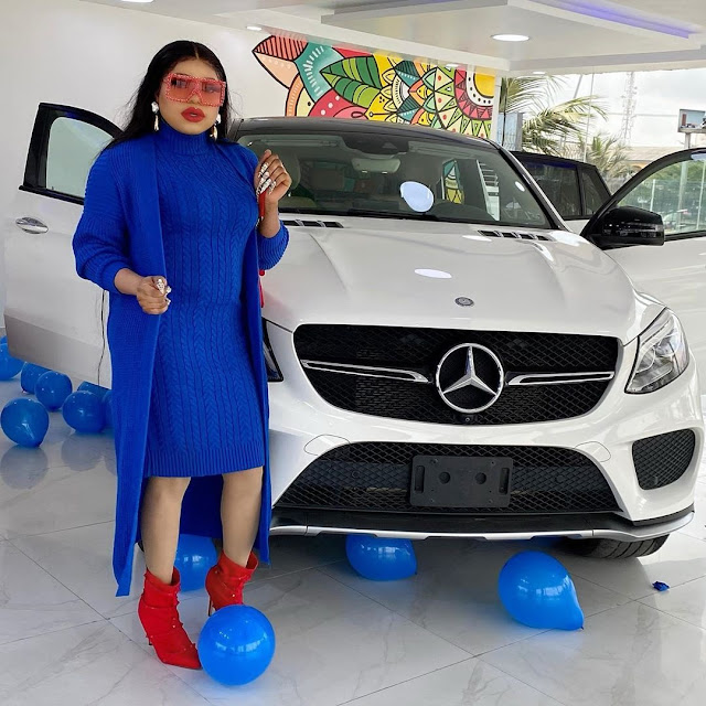 Check Out Photos Of Bobrisky's Brand New Multi-million Naira Mercedes Benz