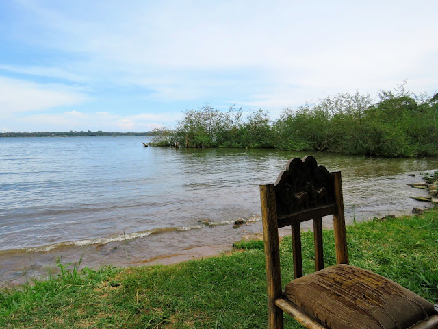 Chair along the shore of Lake Victoria in Entebbe