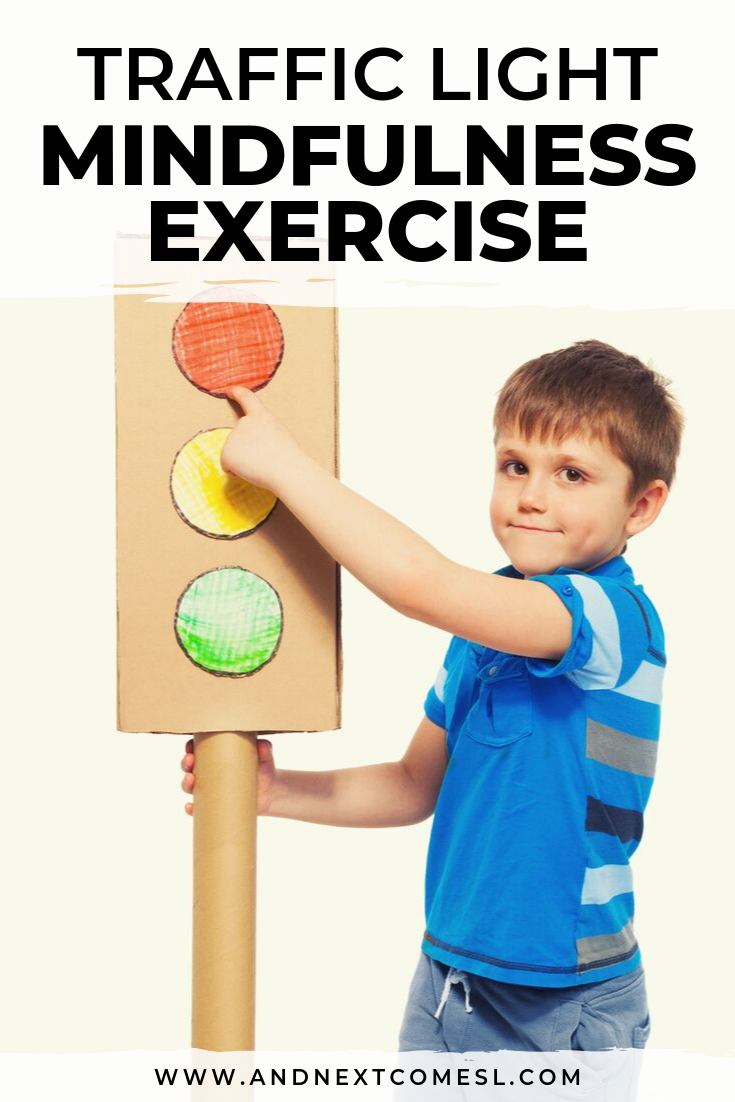 A simple traffic light mindfulness exercise for kids with free printable PDF poster