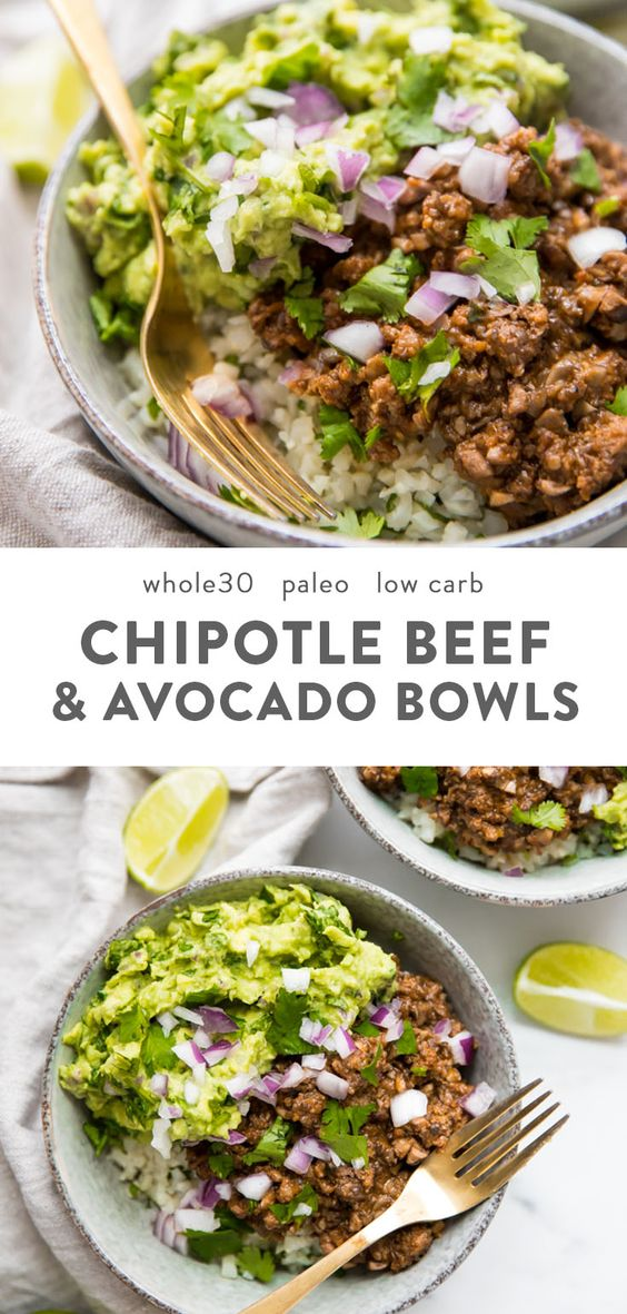 Whole30 Chipotle Beef & Avocado Bowls (Sofritas Copycat, Paleo)