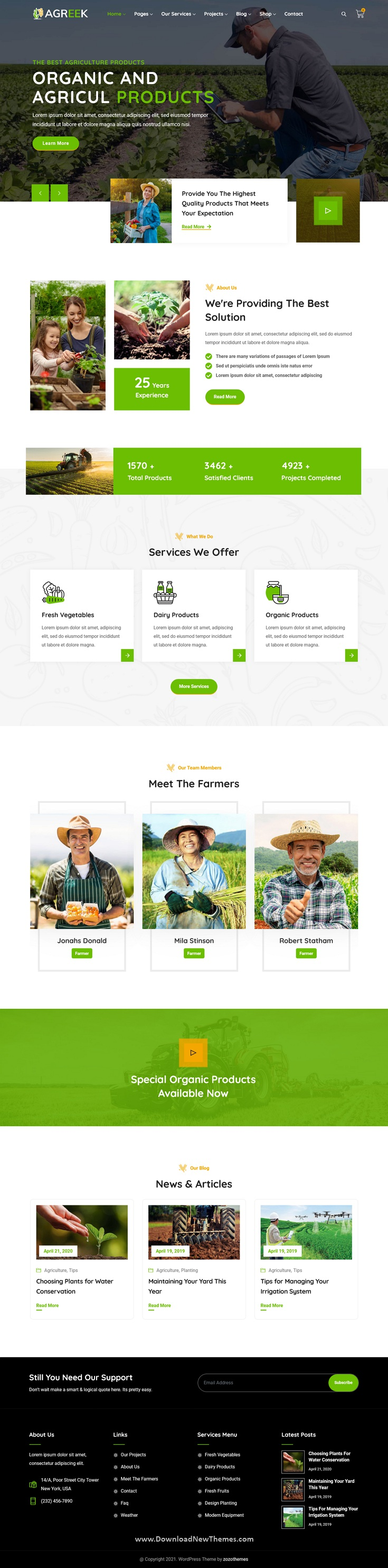 Agriculture and Organic Food WordPress Theme
