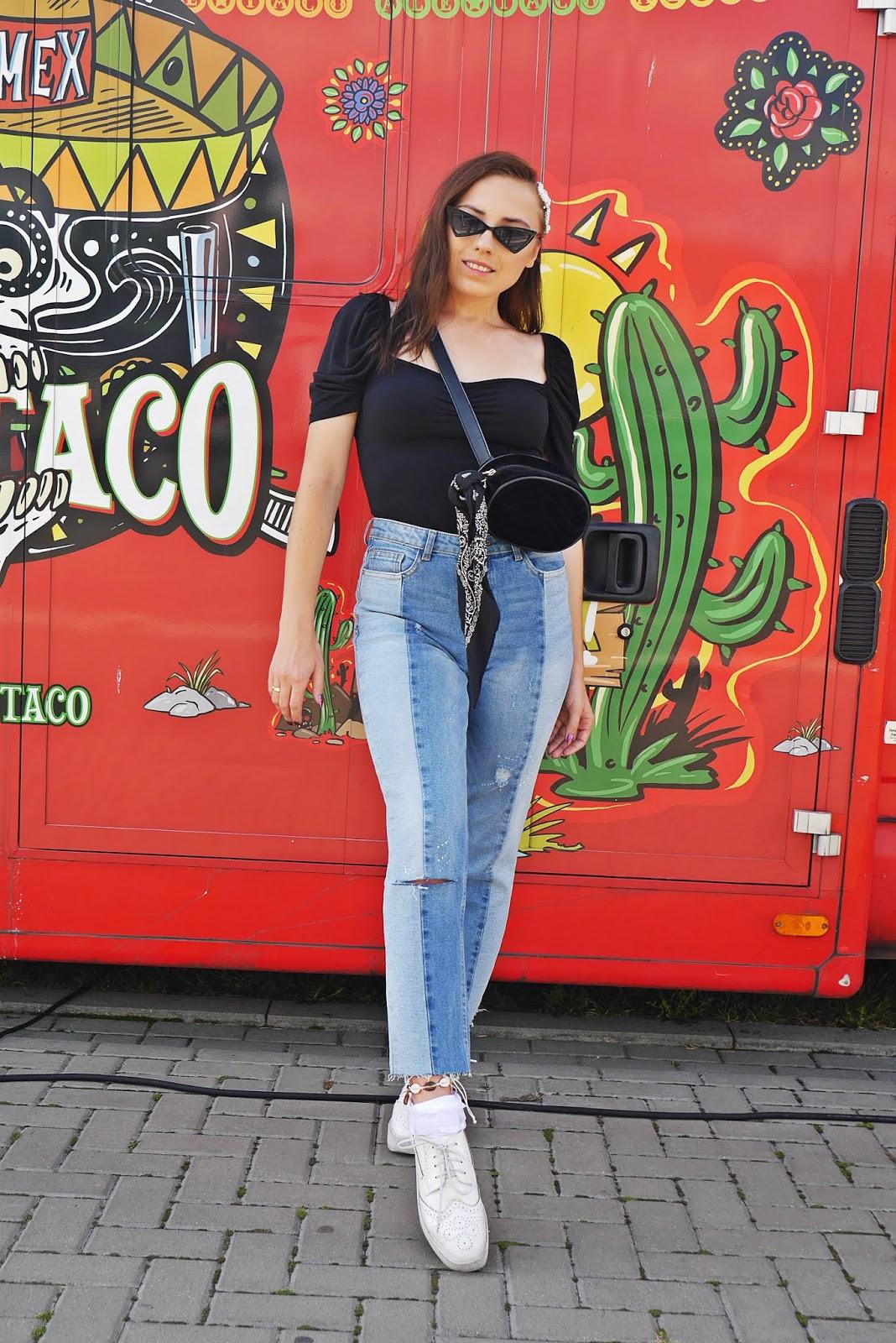 blog modowy karyn jeansowe spodnie stylizacja top z bufkami karyn blogerka modowa