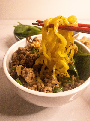 Spicy Minced Pork Noodles with Candied Cashews and Crispy Shallots