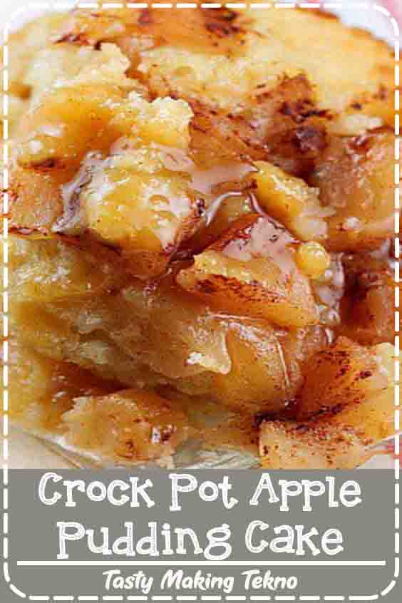 Warm apples topped with cinnamon, a fluffy cake with a thick pudding flavored with orange.The batter for the cake goes on the bottom of the crock pot and actually rises up to make a soft, fluffy cake.  The pudding portion appears when you scoop out the cake and apples.