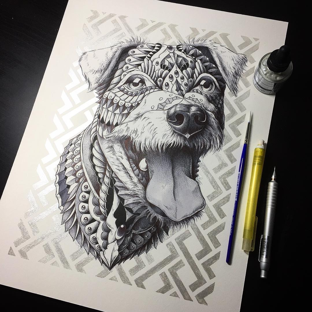 10-Spencer-Dog-Ben-Kwok-bioworkz-Animals-Drawings-Detailed-with-Elaborate-Geometric-Shapes-www-designstack-co