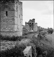 The Land Walls near Belgrat Kapı (Xylokerkos Gate) as seen from the North, May 1937. Our gaze moves from one tower to the next along the Land Walls of Byzantine Constantinople [Credit: © Nicholas V. Artamonoff Collection, Image Collections and Fieldwork Archives, Dumbarton Oaks]