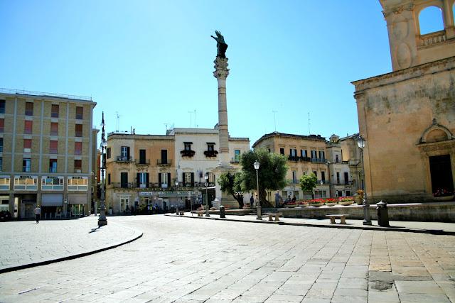piazza, centro, colonna, statua