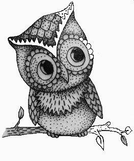 Cute small owl tattoo stencil