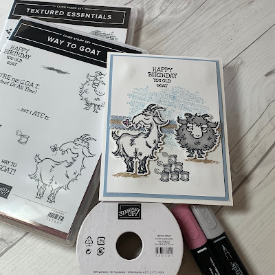 Goat card and Stampin' Up! items used to create the card