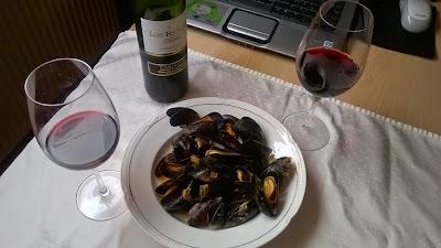 Mejillones con vino tinto Los Royales Reserva 2010