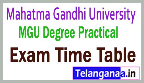 Mahatma Gandhi University  Degree I II / III Year Practical Exam Time Table