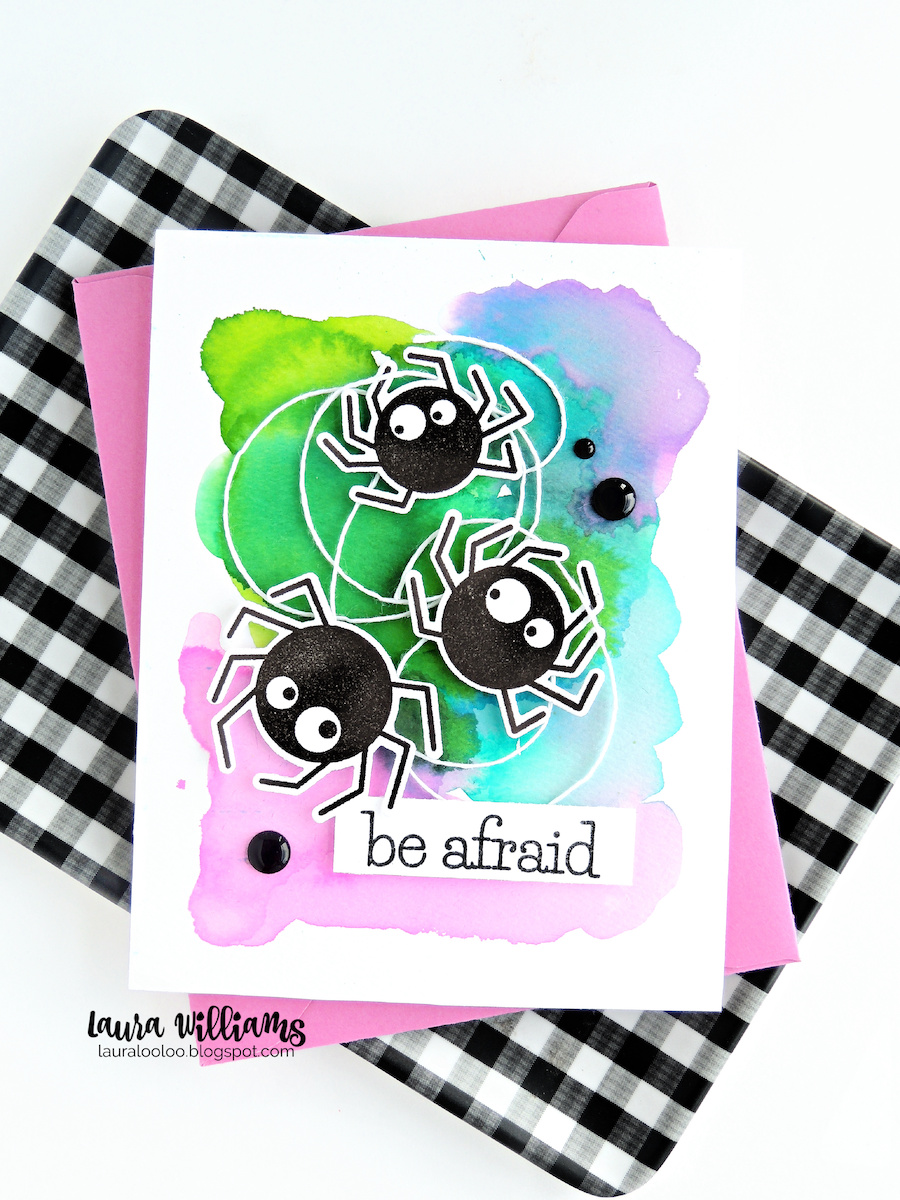 Today's Halloween card idea is part of Die Cut Obsession Day on the Impression Obsession blog. It's the day we celebrate the awesome dies in our crafty stash! The Spider Trio dies are an important part of today's card - because who wants to perfectly cut around all those cute little spider legs? (eww, I never thought I'd use the words CUTE and SPIDER LEGS together in a sentence!)  Be sure to stop by the Impression Obsession blog for a list of designers sharing some die-cut goodness today!