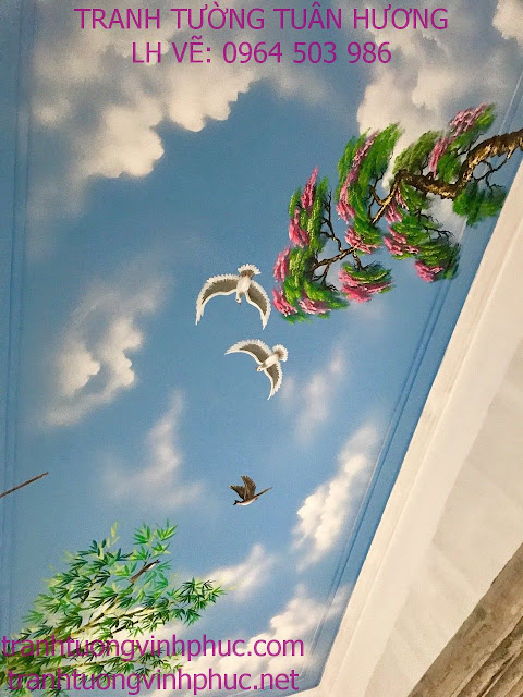 VẼ TRẦN MÂY 3D RẺ ĐẸP TẠI PHÚC YÊN